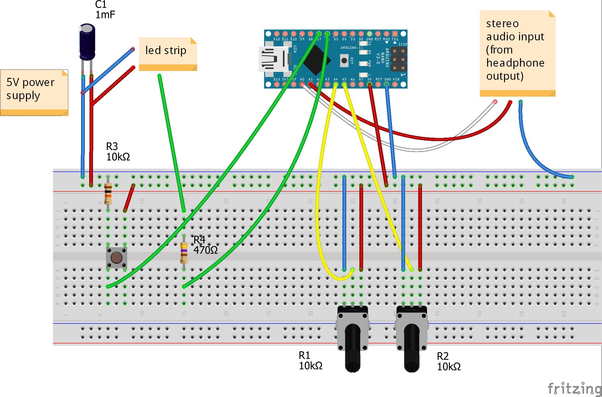 Схема стерео измерителя уровня звука на Arduino и светодиодных лентах от 05.11.2017