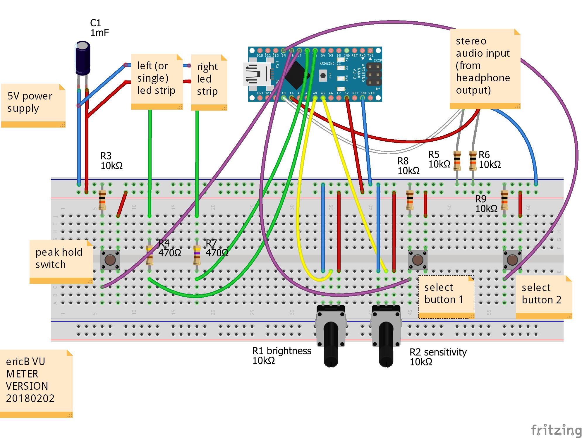 Схема стерео измерителя уровня звука на Arduino и светодиодных лентах от 02.02.2018