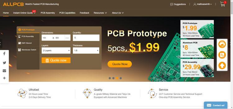 Заказ печатной платы на сервисе allpcb.com