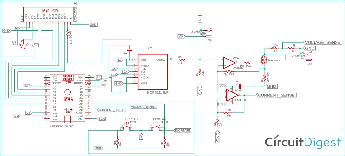 Схема регулируемой электронной нагрузки постоянного тока на основе платы Arduino