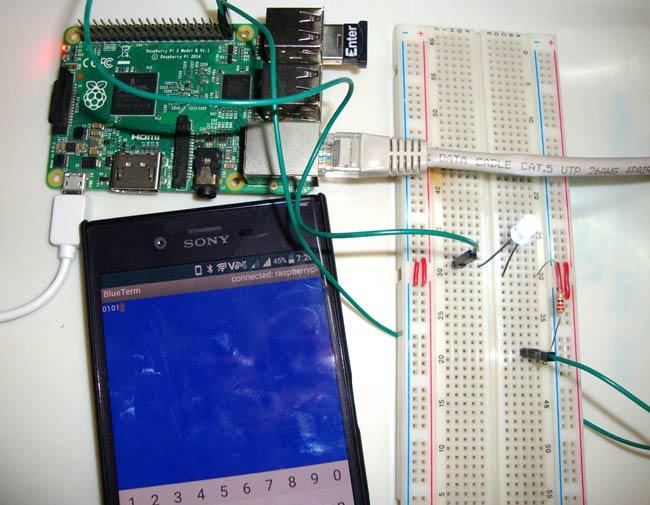 Внешний вид проекта управления контактами ввода/вывода (GPIO) Raspberry Pi через Bluetooth и Android приложение