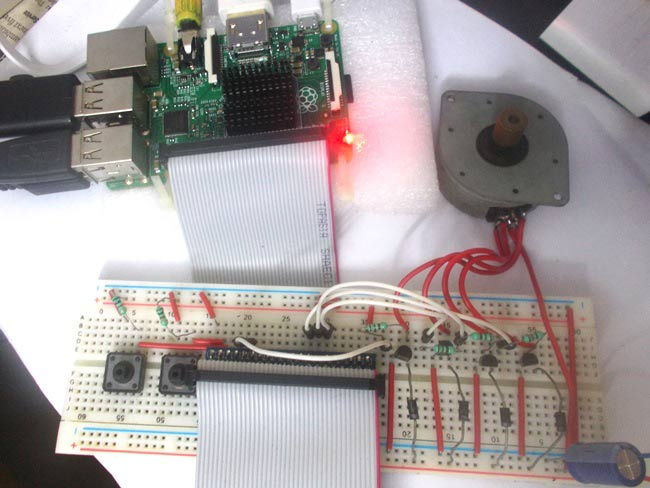 Внешний вид проекта подключения шагового двигателя к Raspberry Pi
