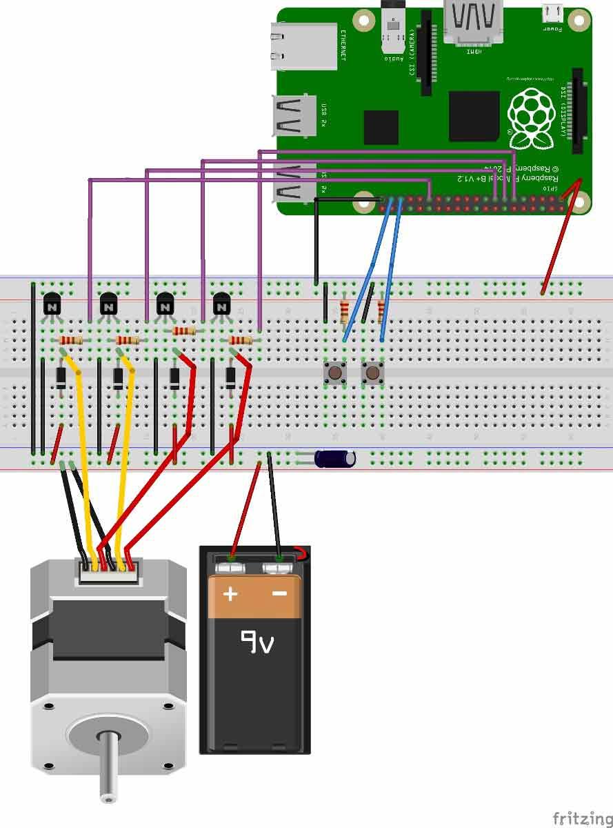 Схема подключения шагового двигателя к плате Raspberry Pi