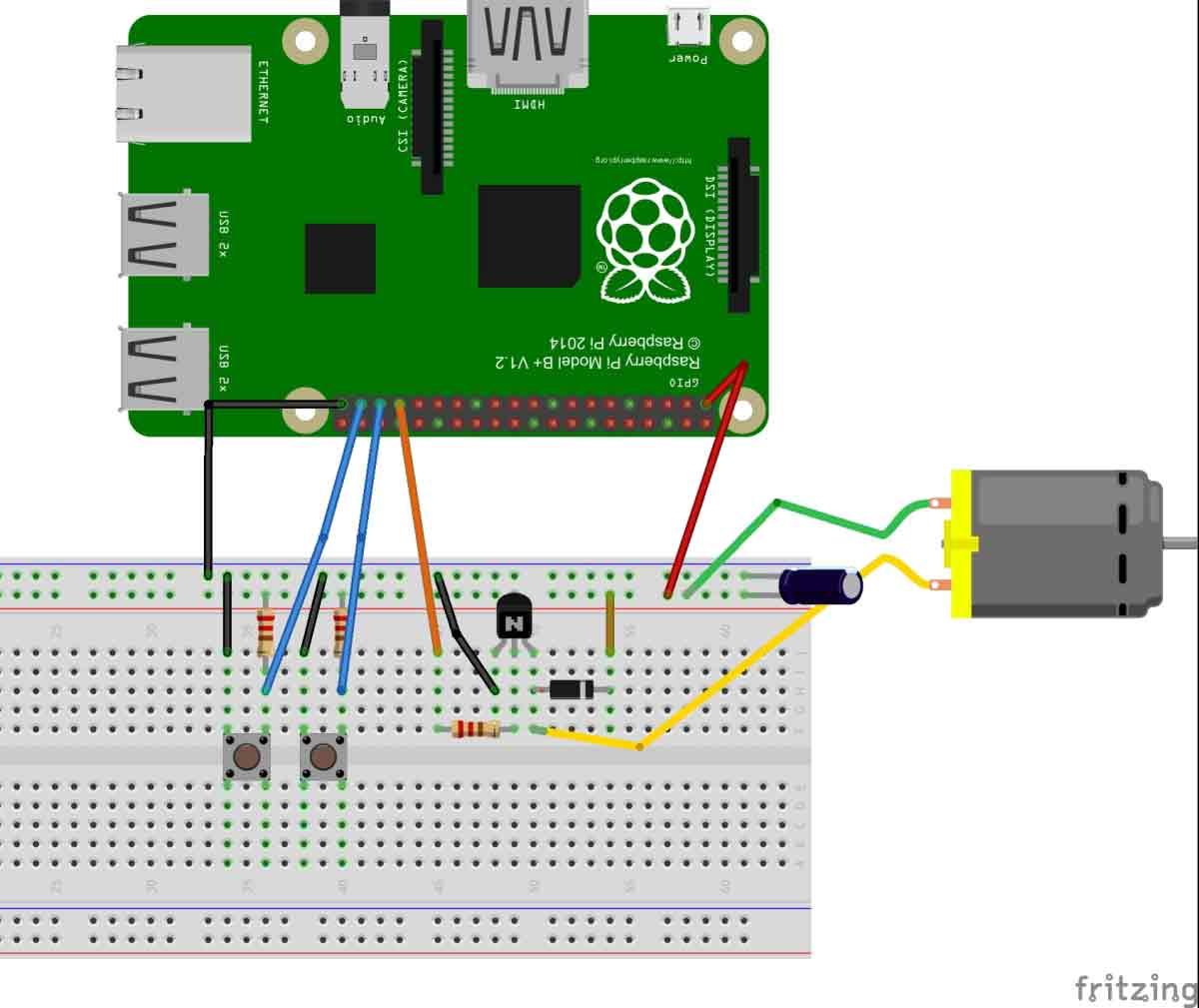 Схема подключения двигателя постоянного тока к плате Raspberry Pi