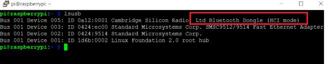 Проверка подключения USB Bluetooth адаптера к плате Raspberry Pi