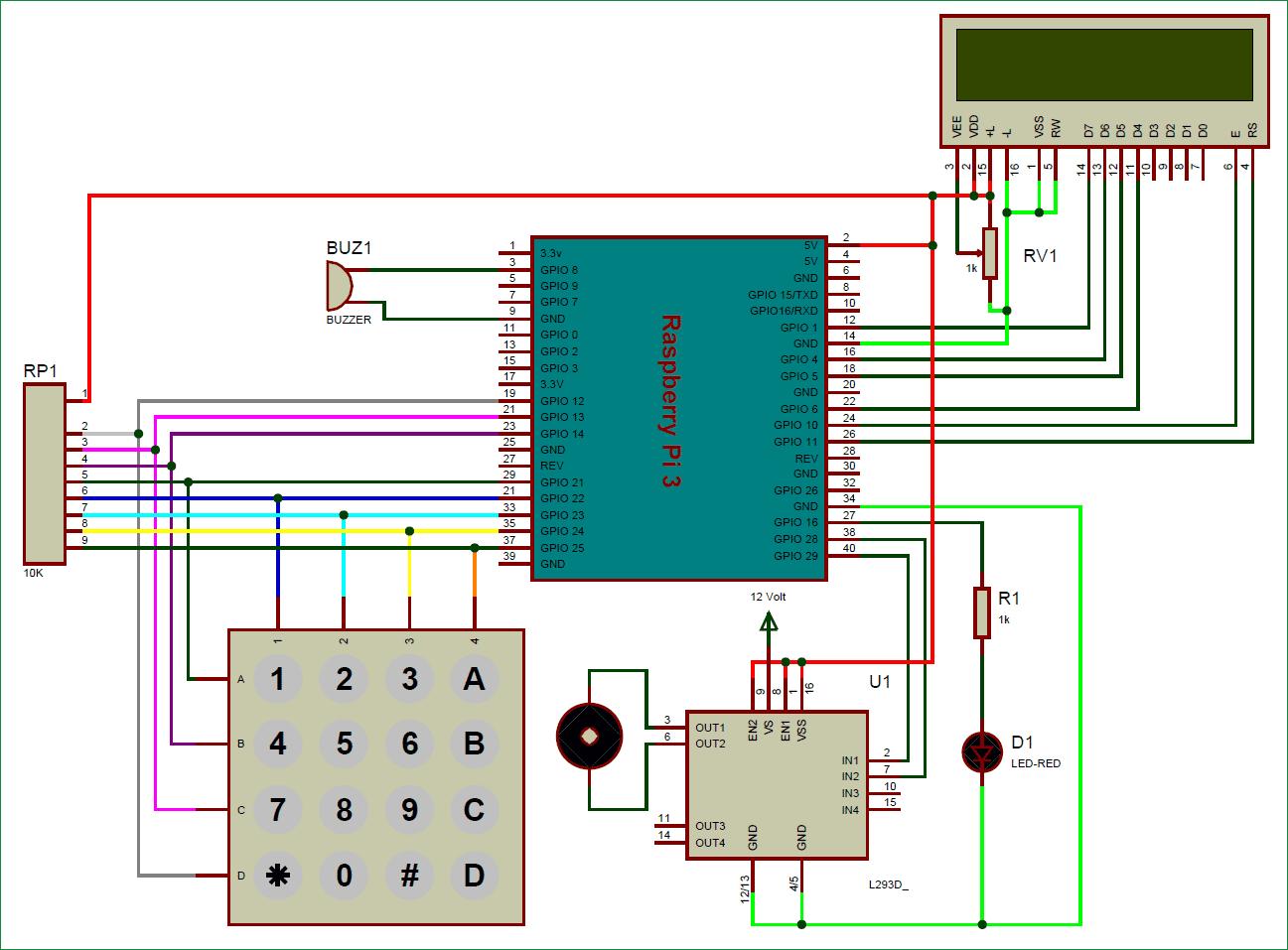 Схема цифрового кодового замка на Raspberry Pi