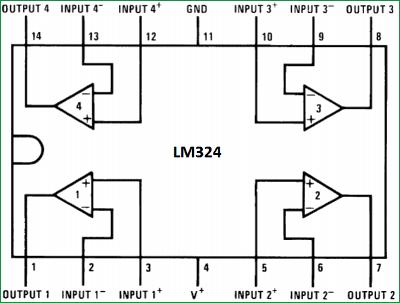 Структурная схема микросхемы LM324