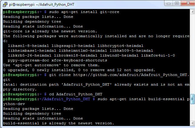 Процесс установки библиотеки Adafruit Python DHT Sensor