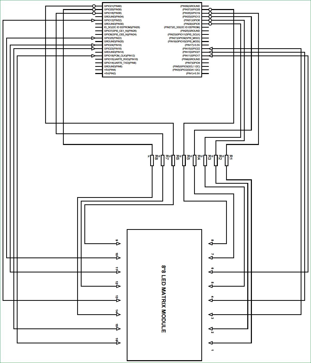 Схема подключения светодиодной матрицы 8x8 к плате Raspberry Pi
