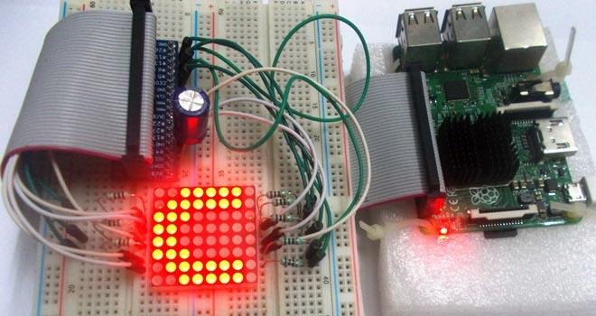 Внешний вид подключения светодиодной матрицы 8x8 к Raspberry Pi