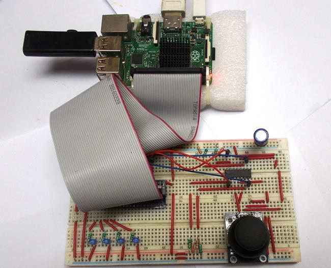 Внешний вид подключения джойстика к плате Raspberry Pi