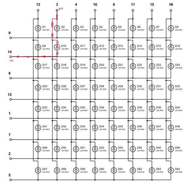 Включаем светодиод D10 в светодиодной матрице