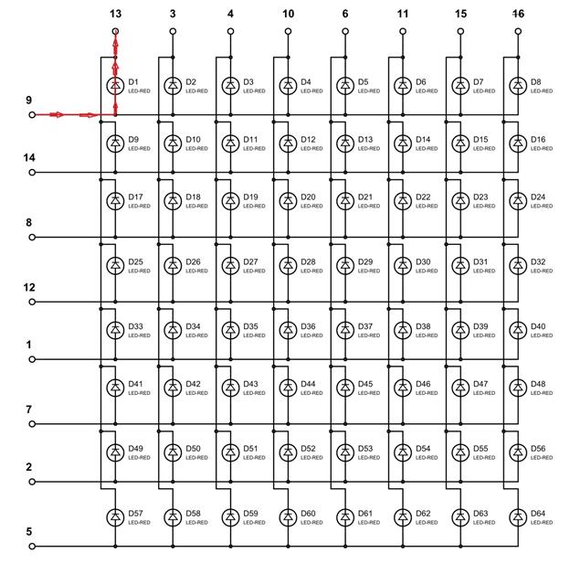Включаем светодиод D1 в светодиодной матрице