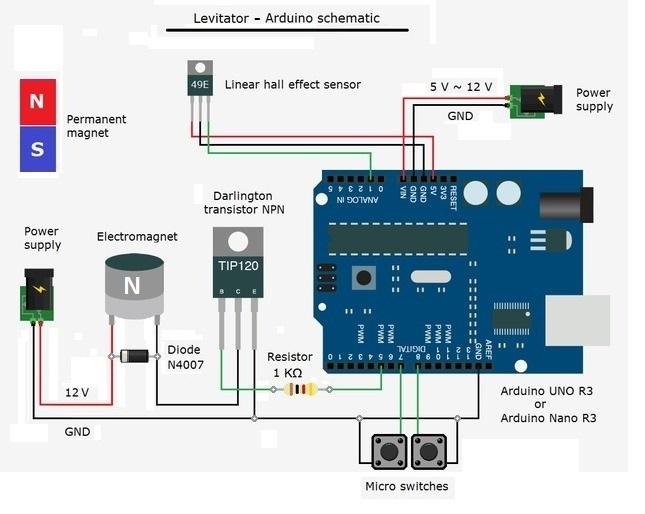 Схема магнитного левитатора на основе платы Arduino