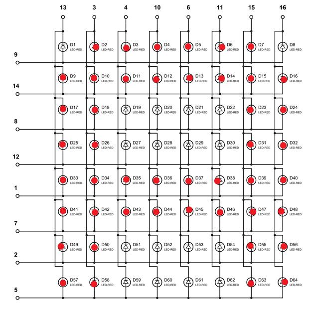 """Отображение на светодиодной матрице буквы """"A"""""""