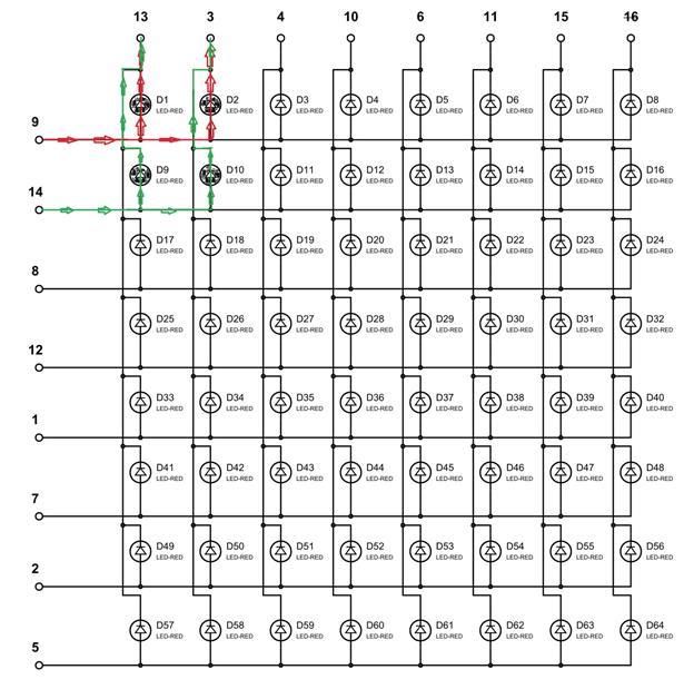 Включаем светодиоды D1 и D10 в светодиодной матрице