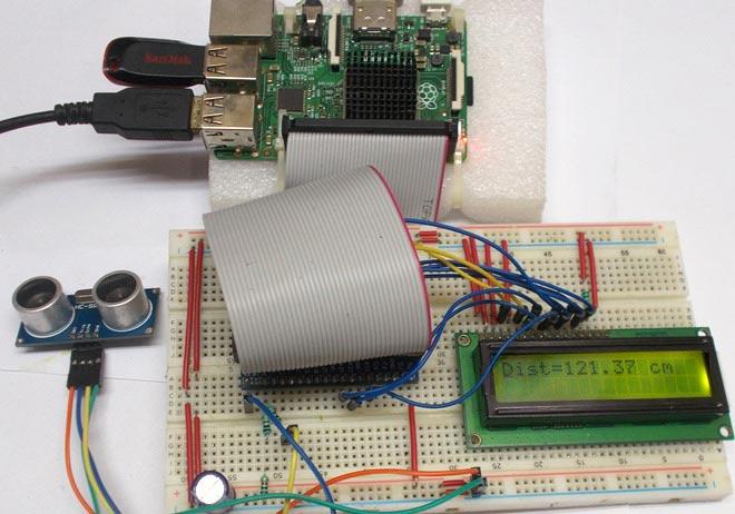Внешний вид проекта измерения расстояний с помощью Raspberry Pi и ультразвукового датчика HCSR04