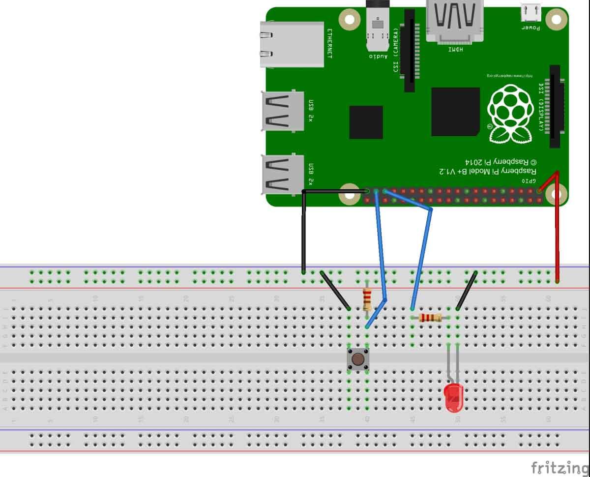 Схема для подключения кнопки к плате Raspberry Pi