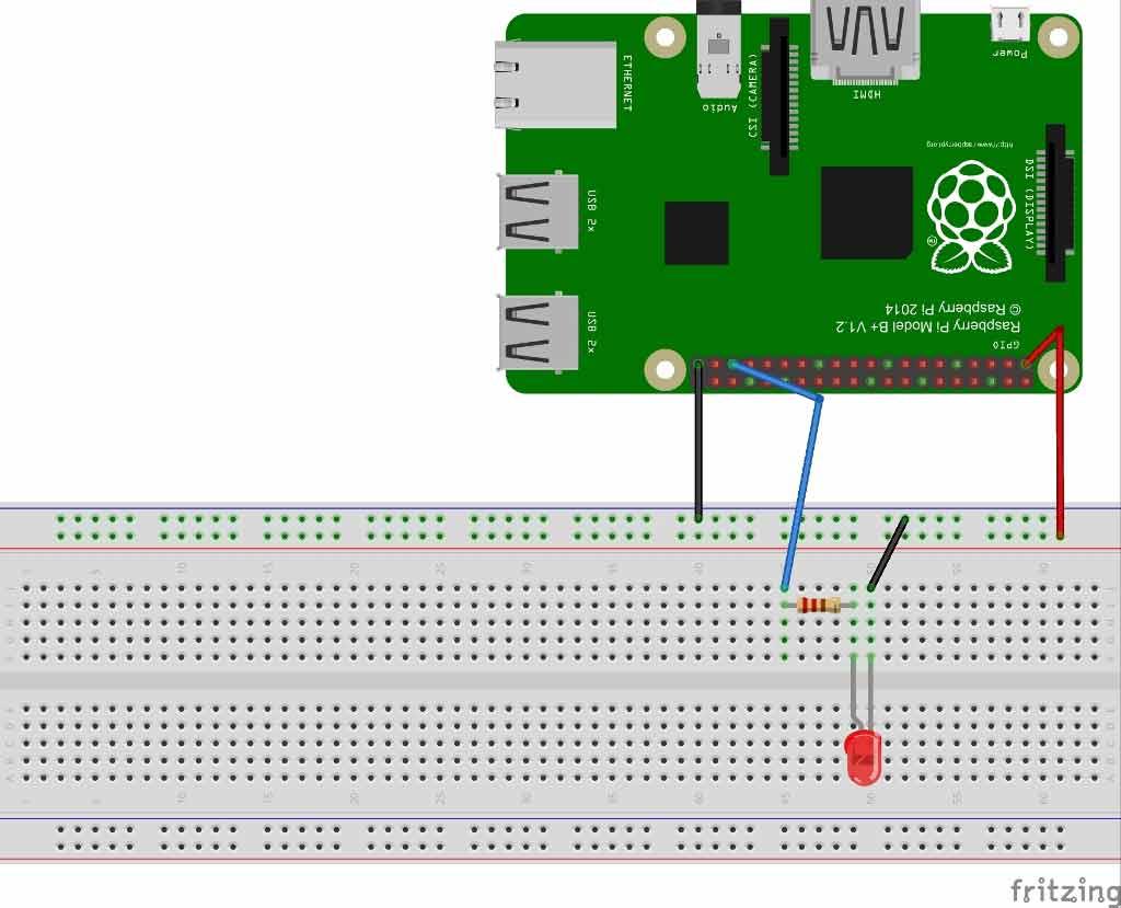 Схема для демонстрации использования ШИМ в Raspberry Pi