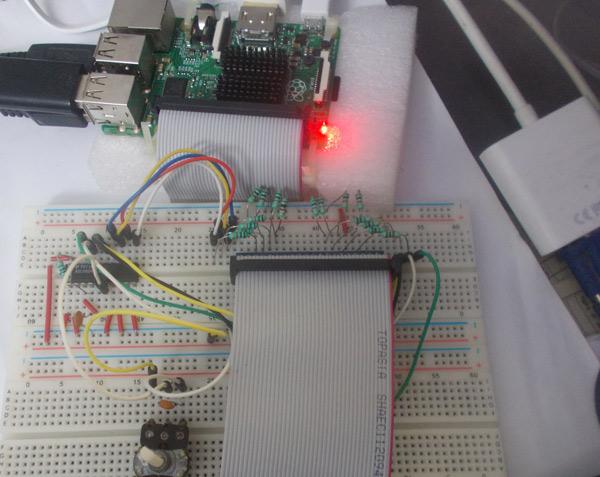 Внешний вид подключения модуля АЦП ADC0804 к плате Raspberry Pi