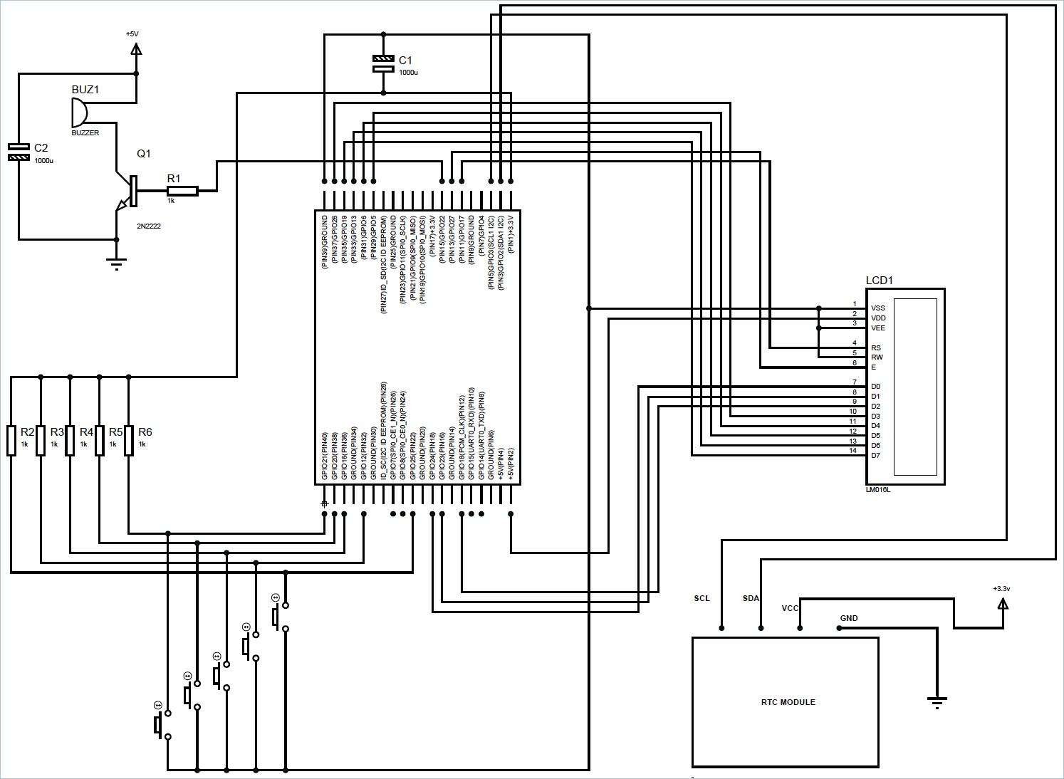 Схема будильника на Raspberry Pi и RTC модуле DS1307
