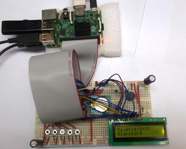 Внешний вид будильника на Raspberry Pi и модуле часов реального времени DS1307