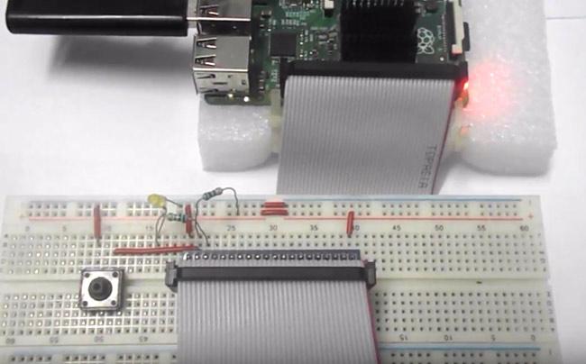 Внешний вид проекта подключения кнопки к плате Raspberry Pi