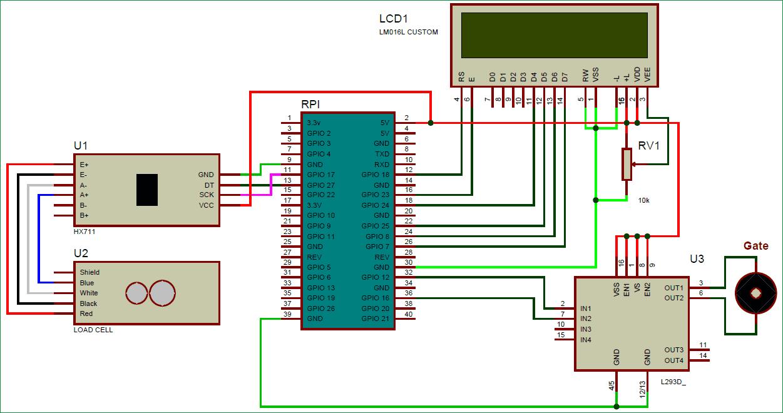 Схема подключения датчика веса с модулем усиления HX711 к плате Raspberry Pi