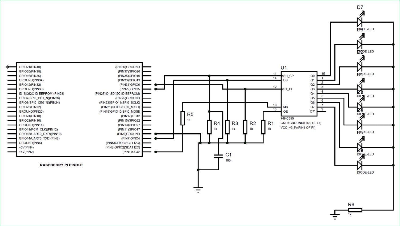 Схема подключения регистра сдвига 74HC595 к плате Raspberry Pi
