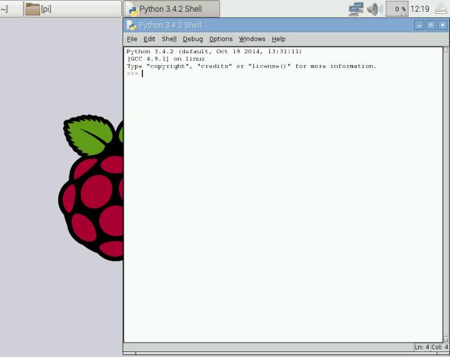 Запустившаяся оболочка Python 3 в Raspberry Pi