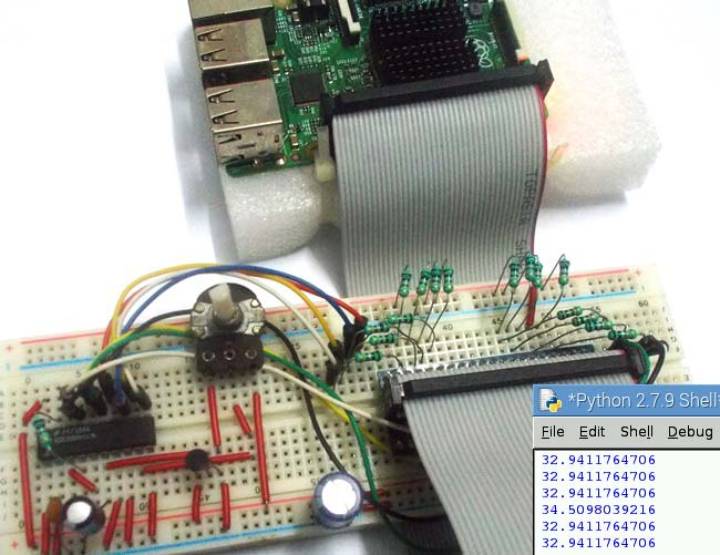 Внешний вид термометра на основе платы Raspberry Pi и датчика LM35