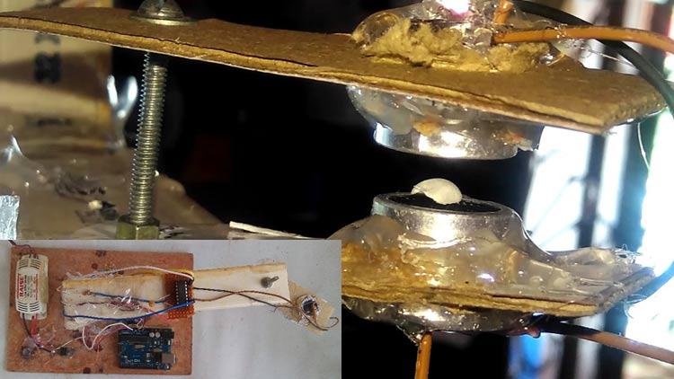 Внешний вид проекта ультразвуковой акустической левитации на Arduino и датчике HC-SR04