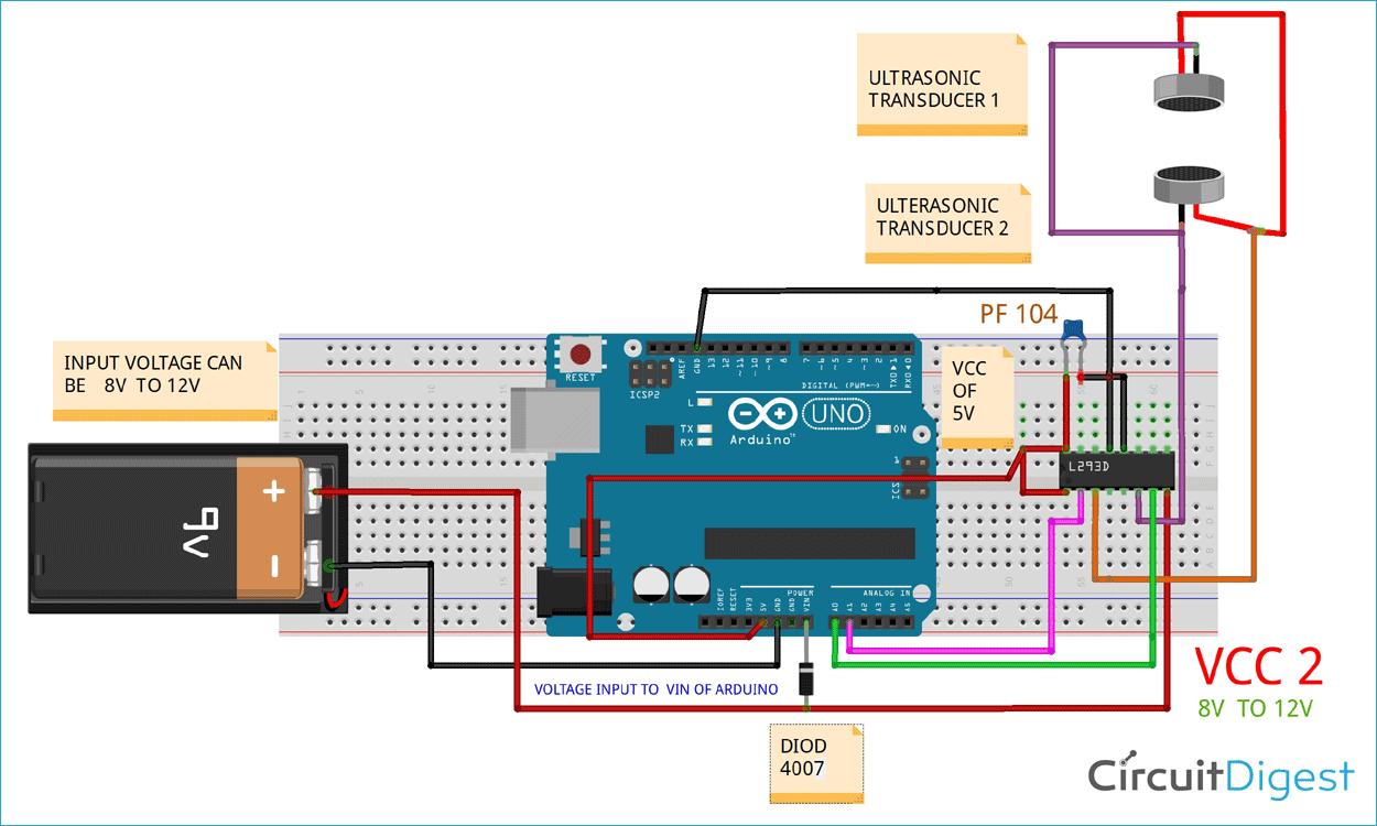 Схема проекта ультразвуковой левитации на основе платы Arduino