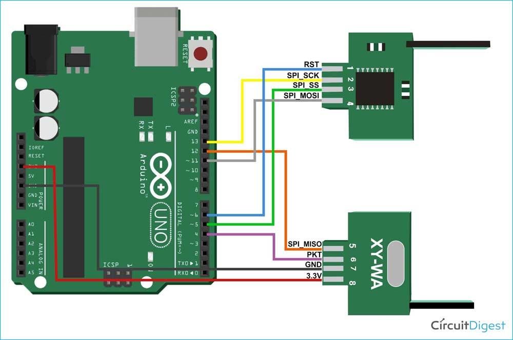 Схема подключения радиочастотного XY - WA 2,4 ГГц к плате Arduino