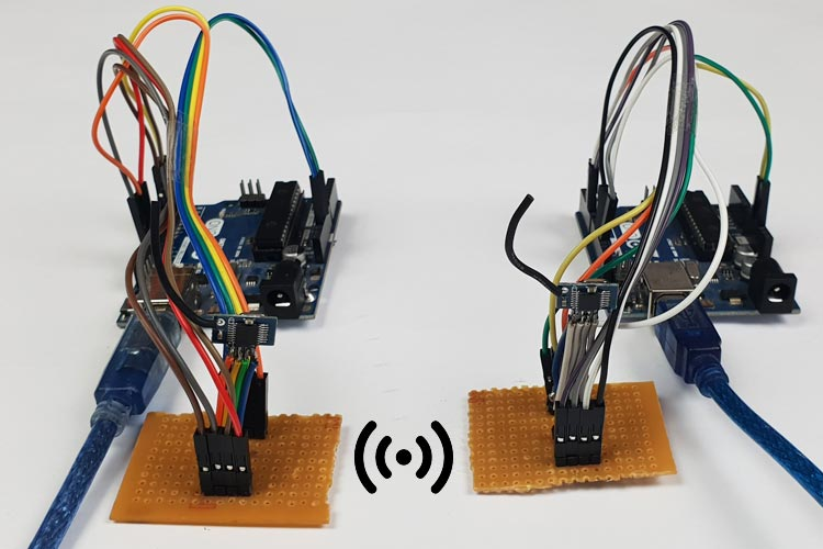 Внешний вид проекта организации связи между платами Arduino с помощью модулей XY – WA