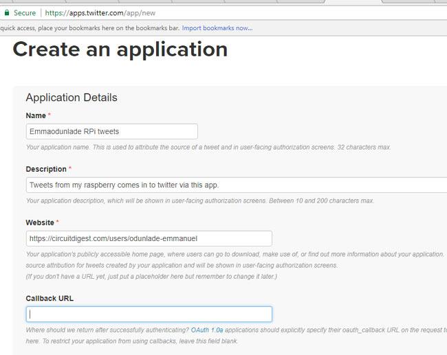 Заполнение параметров нового приложения