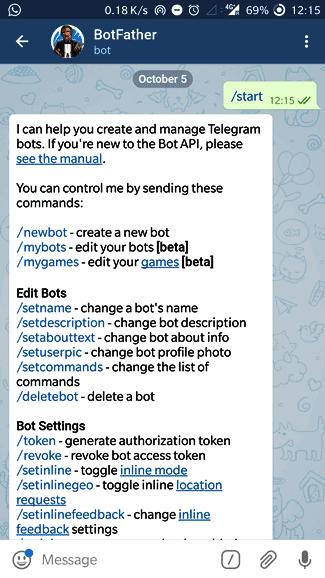 Создание нового бота Telegram с помощью Botfather