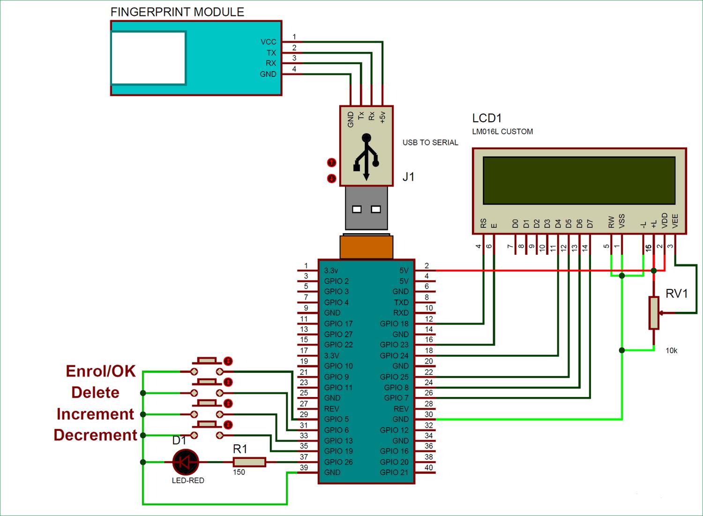 Схема подключения датчика отпечатка пальцев к плате Raspberry Pi