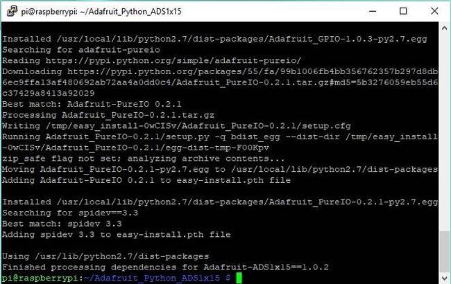 Завершение процесса установки библиотеки от Adafruit
