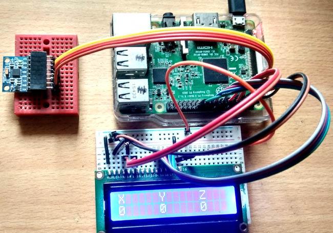 Внешний вид подключения гироскопа MPU6050 к плате Raspberry Pi