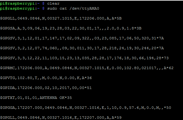 Тест работы GPS модуля в окне платы Raspberry Pi