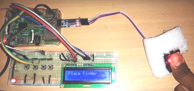 Внешний вид подключения датчика отпечатков пальцев к Raspberry Pi
