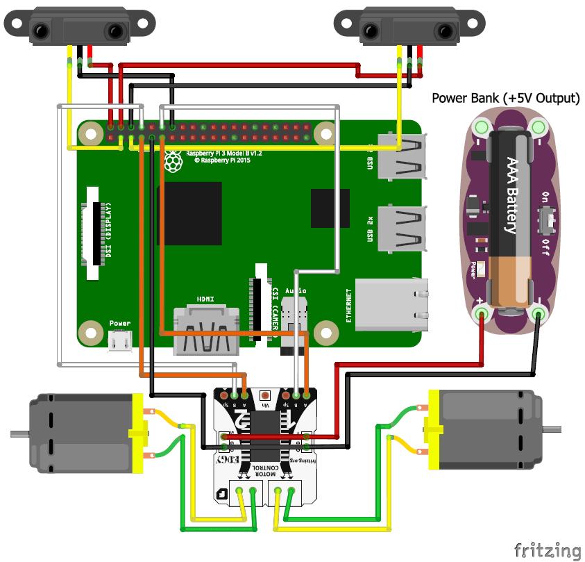 Схема следующего вдоль линии робота на Raspberry Pi