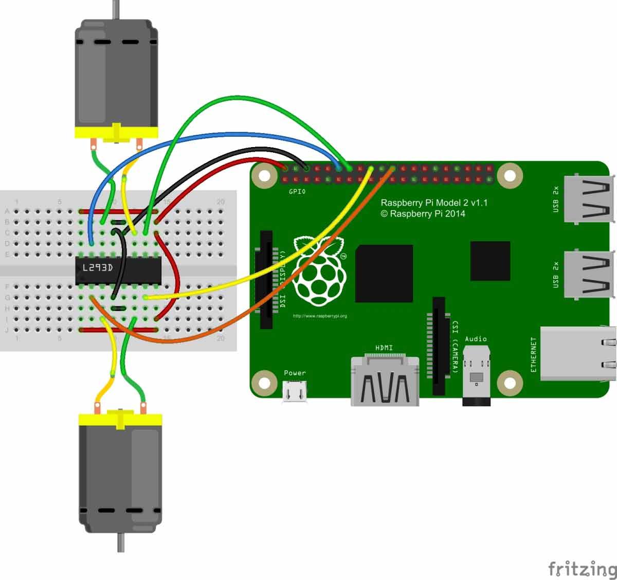 Схема роботизированной машины на Raspberry Pi с камерой наблюдения