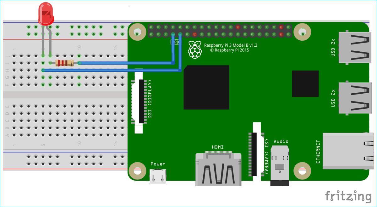 Схема для мигания светодиодом с помощью платформы Node.js и платы Raspberry Pi