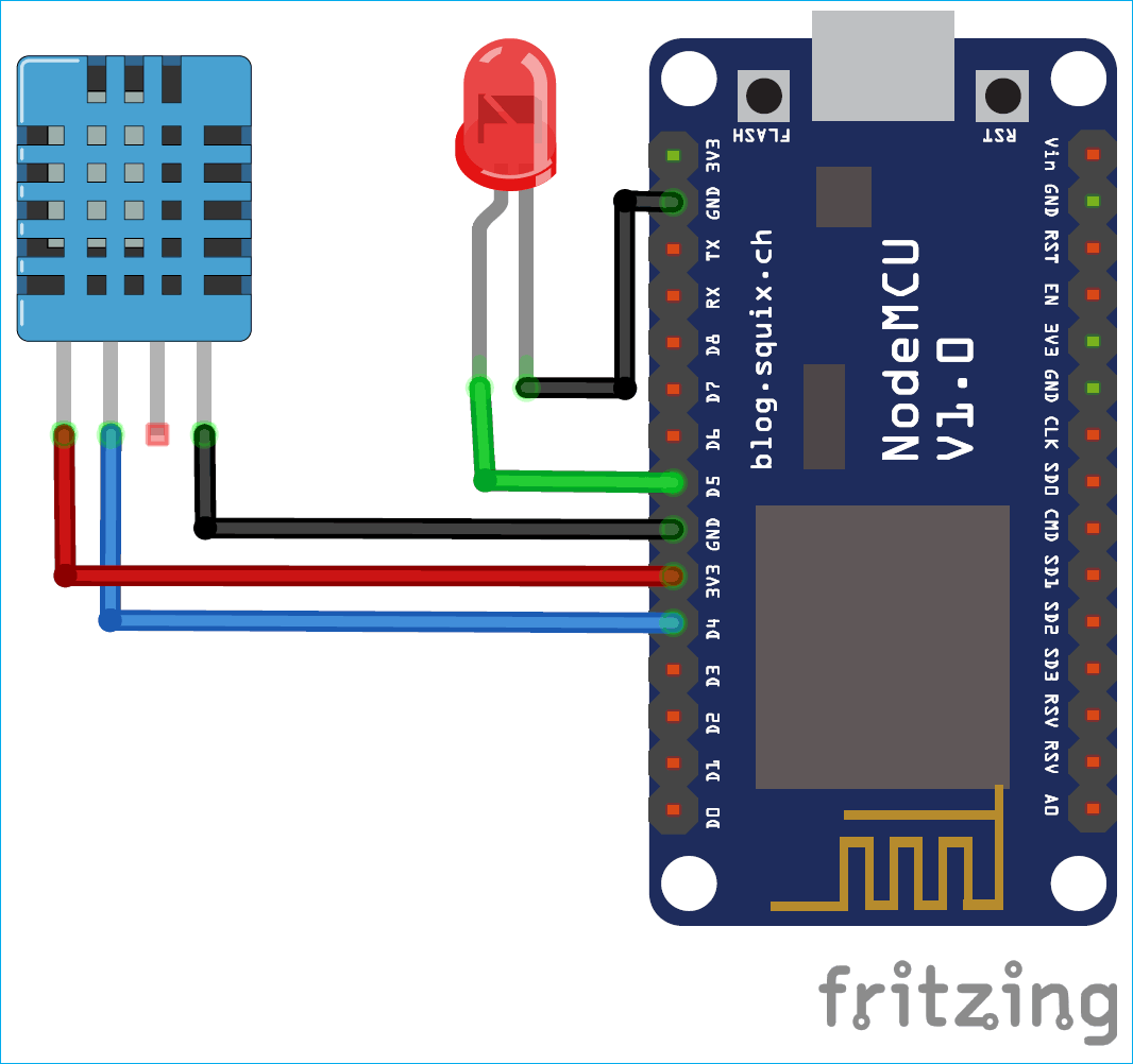 Схема подключения светодиода и датчика DHT11 к NodeMCU ESP12E