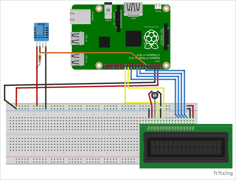 Схема подключения датчика температуры и влажности DHT11 к плате Raspberry Pi
