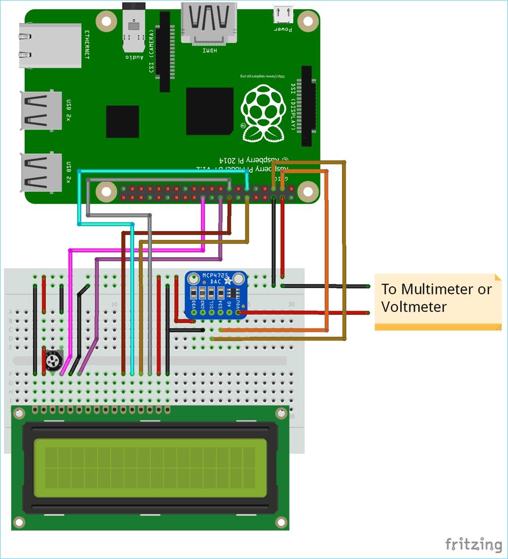Схема подключения модуля ЦАП MCP4725 к плате Raspberry Pi