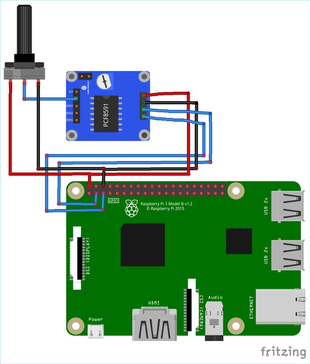 Схема подключения модуля АЦП/ЦАП PCF8591 к плате Raspberry Pi