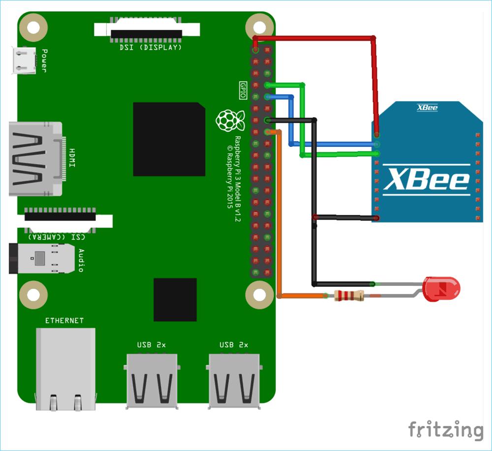 Схема подключения модуля XBee (ZigBee) к плате Raspberry Pi